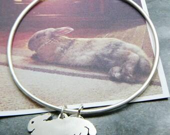Bangle Bracelet Custom Pet Portrait TaGette .. Sterling Silver Bunny silhouette Jewelry Memorialize Keepsake