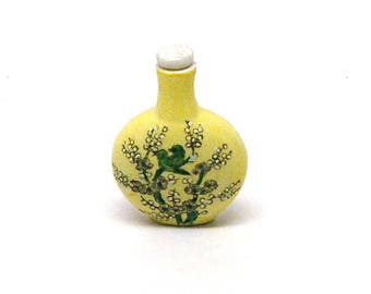 Vintage Asian Snuff Bottle, Scent Jar, Perfume, Dauber, Ceramic, Floral with Birds, Aviary, Mid Century, Souvenir, c1960's
