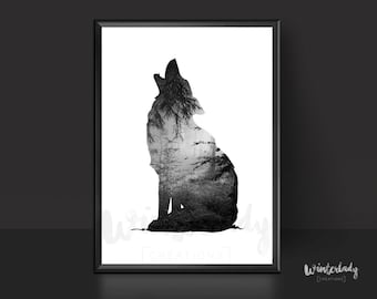 Wolf and dark forest black and white poster  | Printable | Instant Download