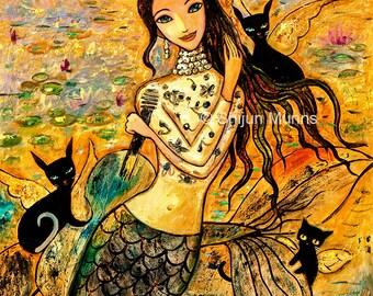 Mermaid art print: Lotus Pool Mermaid-golden giclee print by Shijun Munns-Art gift-Fantasy wall art-Oil painting print