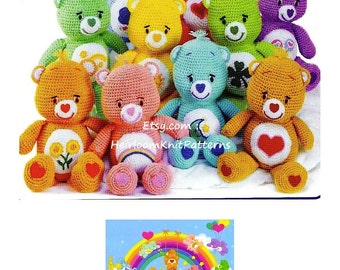 Care Bears Crochet Pattern 10 Carebears Toy Crochet Pattern Bear Crochet Pattern Baby Toy Crochet Pattern, Instant download PDF - 1045