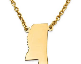 14K Yellow or White Gold Sterling Silver or Gold Plated Silver Mississippi MS State Map Name Necklace Personalized Engraved Monogram CMZ415