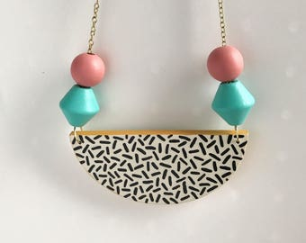 wooden geometric necklace - pink, teal, black & white, yellow (retro/80s)
