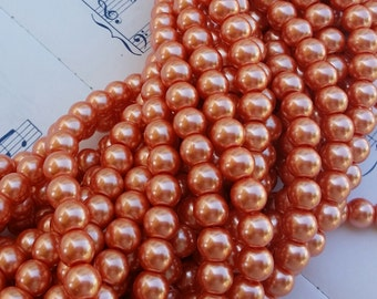 Glass Pearl Beads - 42 pc - 8mm Pearls - Peach Pearls -  Peach Glass Pearls - Round - Dyed Glass Pearls