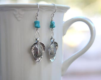 Turquoise and leaf earrings, sterling silver leaf earrings, dangle leaf earrings, leaf earrings, turquoise earrings, everyday jewelry