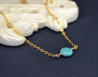 Turquoise Choker Necklace, 13 Inch Gold Filled Choker Necklace, 14 Inch Necklace, Beaded Choker, Gemstone Choker