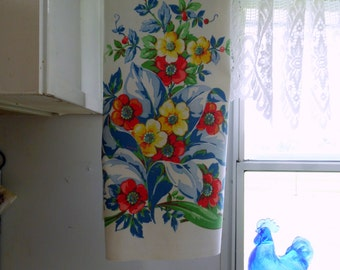 Vintage Startex Towel 15 X 34  Floral Design Tea Towel ECS