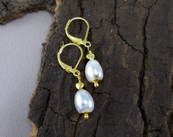 Earrings Pearl Drops Gold plated
