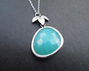 Bridesmaids gift, Wedding Gift, Aqua Blue Bezel Necklace - Large Bezel