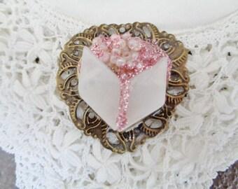 Heart pendant rose QUARTZ, semi precious stone pendant