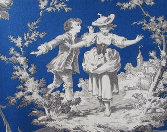 SWEET WILLIAM Royal Blue toile print fabric