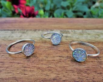 Angel Aura Quartz Ring / Angel Aura Druzy Ring / Sterling Silver Ring / Crystal Cluster Ring / Crystal Druzy Ring / Rainbow Crystal Ring