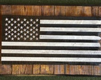 Boxed Frayed Old Glory 26X42 - Wooden America flag in 3 different patterns