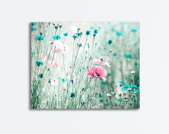 Pink Teal Aqua Turquoise Flower Canvas Photography, Mint Floral Nursery Nature, Spring Feminine Girls Room, 11x14 16x20 24x30 Canvas Wrap