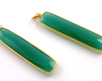 Natural Green Onyx , Bezel Long Drop Gemstone, Gold Vermeil ,  7x34mm 1 Piece, (BZC9022/GNX)