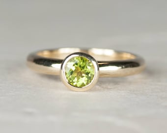 Peridot Gold Engagement Ring | Peridot Gold Solitaire Ring | Unusual Green Engagement Ring | August Birthstone Ring | Gold Solitaire Ring