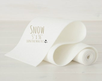 "100% Merino Wool Felt Roll - 5"" x 36"" Roll - Wool Felt Color Color Snow-8020 - White Color Wool Felt - Pure Merino Wool Felt - Felt Roll"