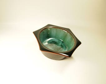 """""""Blue mountain pottery"""" pottery small bowl Turquoise, green, black"""