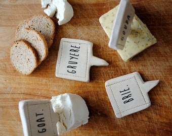 handmade cheese markers set of 4, house warming gift under 50 by nelledesign