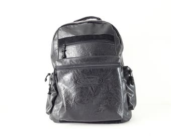 90s black faux LEATHER sleek modern backpack