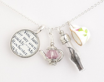 Jane Eyre / Literary Tea Necklace / Jane Eyre Necklace / Jane Eyre Book Jewelry / Book Lover Gifts / Literature Jewelry /  Tea Jewelry