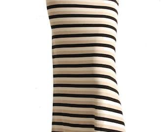 Black Cream & Tan Striped Maxi Skirt