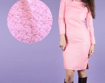 60s Vintage Cheongsam // Vintage Cheongsam // Pink Cheongsam 60s Pink Dress Petite Dress 60s Pink Silver Lamé Dress Cheongsam Silver Size XS