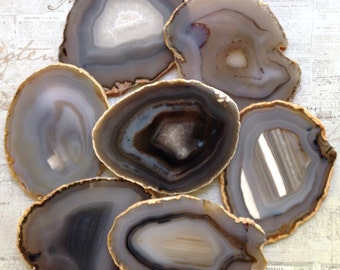 Agate Coasters SHADES OF GRAY Coaster Agate Coasters Geode Coasters Geode Coaster Agate Coaster Set of 2-10 Gold Silver or Nat. Edge