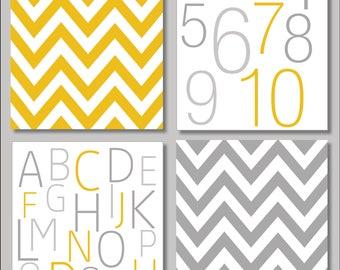 Grey & Mustard Yellow Printable Collection Set of 4