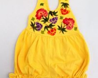 Hand Painted Baby Girl Romper, Sunflower, Chinese Flowers, Natural Cotton Fabric, Boho Baby