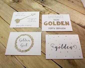 Golden Birthday Card- Variety of Styles