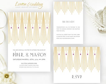 Gatsby wedding Invitation kit printed  | Gold and purple wedding invitations | Art deco wedding invites