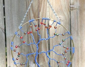 Suncatcher, Tree of Life Sun Catcher, Blue Tree Red Beads, Large Whimsical Decor, Garden Art, Handmade Wall Art, Wire Bonsai Tree Sculpture
