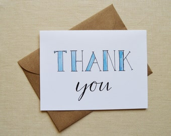 Thank You Card, Hand Lettered Card, Watercolor Card