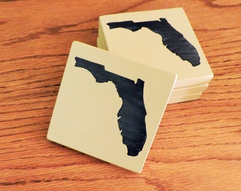 Any State, Pick Colors, Custom Wooden State Coasters, Set of 4, Wedding, Housewarming, Florida