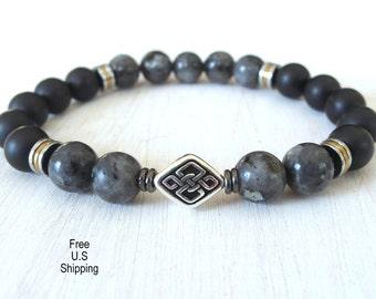 Men's celtic knot bracelet, Black Moonstone, onyx bracelet, reiki, energy bracelet, wrist mala, mala beads, gemstone bracelet, healing