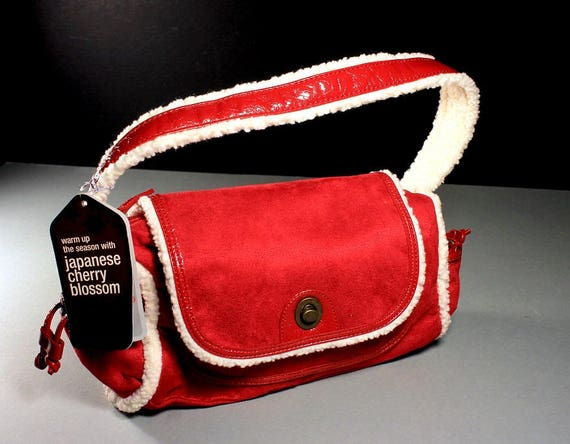 Satchel Bag, Bath and Body Works, Red and White, Holiday Bag, Fleece Accents, Faux Suede, New With Tags, Twist Closure, Shoulder Bag