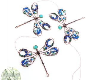 Blue Dragonfly Hanging Mobile, Metal Dragonfly Art, Luxury Gifts, Copper Wire Decoration, Handmade Dragonfly Suncatcher, Cobalt Blue Decor