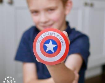 Captain America Shield Printable Super Hero Valentines