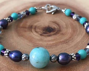 Peruvian Amazonite, Freshwater Pearl, Sterling Silver, Swarovski Crystal & Vintage Glass Bracelet