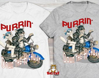 PURRING DOWN the HIGHWAY Cat T-shirt. Cats ride a Motorcyle tshirt.  Cat tshirt.  Cat Lover Shirt, Motorcycle Cats