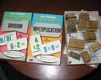 1959 Whitman Division + Multiplication Flash Cards plus Wooden Animal Stampers