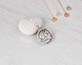 Coin Necklace, 2 Side Coin Necklace, Silver Coin Necklace, Greek Coin Necklace, Athena Coin Necklace, Owl Coin, Gold, Rose Gold, Small Disc