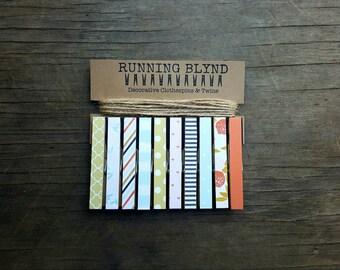 Photo Clothesline. Decorative Clothespins. Jute Twine. Victorian Decor. Card Holder. Photo Display. Kids Art Display. Photo Holder. Clips.