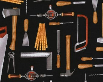 Realistic Tools on Black ~ Tool Time by Timeless Treasures
