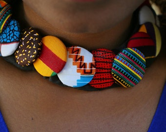 Multicolor fabric African 2 in 1 Choker