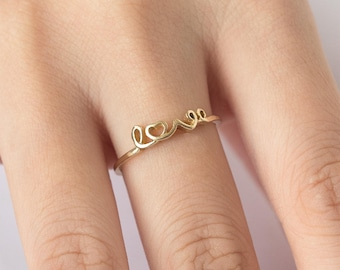 Love Ring, Solid 14K Gold Love Ring, Cursive Love Ring, Script Love Ring, Gold Love Ring, Love Name Ring, Heart Ring, Love Word Ring