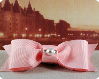 Boys Pink Bow Tie with Pearl and Crystals