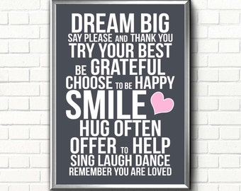 Dream Big poster Printable art print inspirational quote Positive wall art Nursery prints Be grateful sign You are loved quote print digital