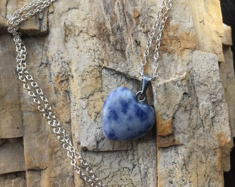 Sodalite Heart Pendant Charged with Reiki